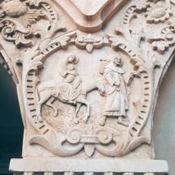 The holy family leaving Bethlehem